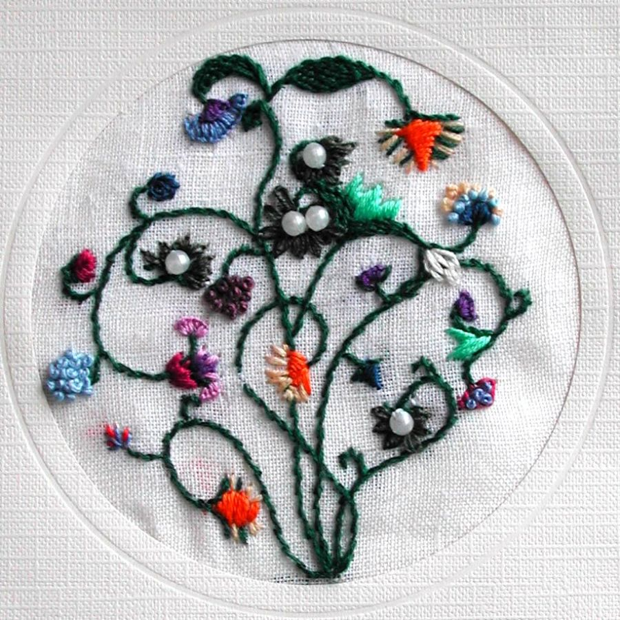 Embroidered motif for greeting card