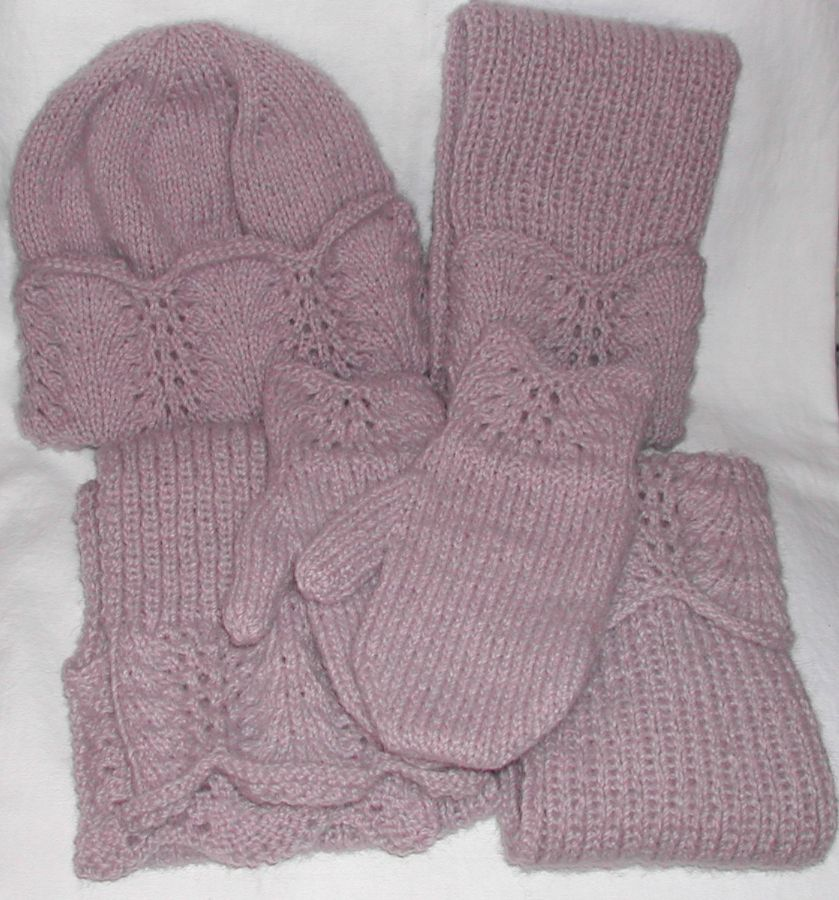 Knitted hat, gloves and scarf set