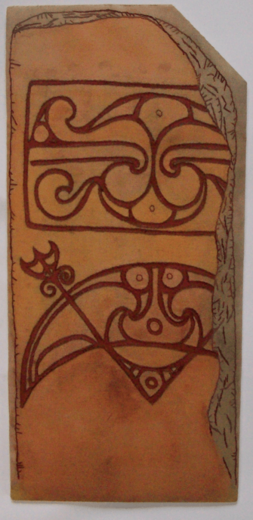 Pictish symbol stone is a large stitched copy of a stone found in Orkney.