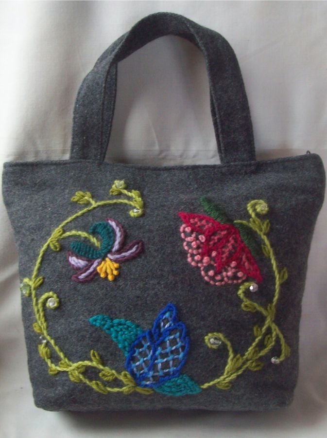 Bag with embroidered flower motif